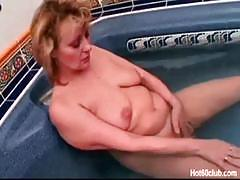 blowjob, big tits, blonde, deepthroat, granny