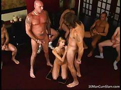 Blonde slut crystal ray strips and sucks cocks