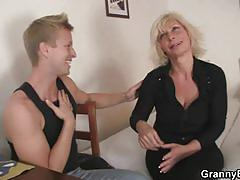 Blonde granny likes young cock and cowgirl style