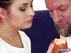 Hot brunette teen gets banged by an old dude
