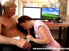 Teen cutie suck and old dude's hard cock