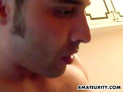 Busty amateur gf threesomed