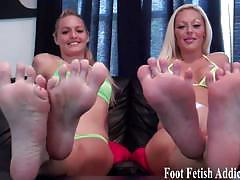 Mistresses humiliate you for your feet addiction