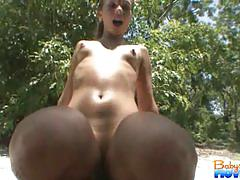Nicole takes big cock in outdoor.