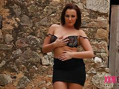 Jodie gasson strips and teases in a black dress