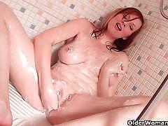 big tits, milf, busty, masturbation, fisting, solo, posing, naked, red head, teasing, masturbating