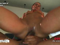 Filthy german whore gang-banged and jizzed