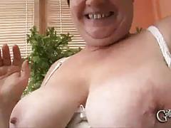 Big plumper granny sucks and fucks two hot studs.