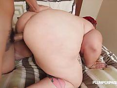 Redheaded plumper doggyfucked