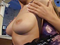 Shy brunette slut enticed into hot lesbian pussy fun