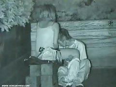 Naughty asian couple has sex in the park