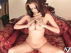 Voluptuous brunette nikki nova plays alone