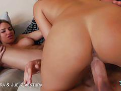 Two cum thirsty girls get fucked by a hard cock.