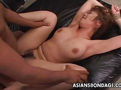 Hairy pussy tied and fucked hard in bondage.