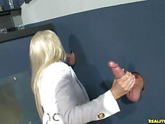Hot sluts get fucked hard through the glory hole