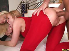 Two sexy blonde sluts get fucked together