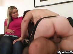 Husband fucks mother-in-law and wife watches