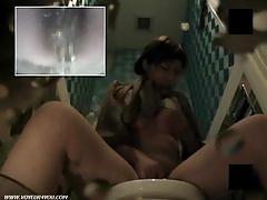 Hairy asian pussy toilet masturbation