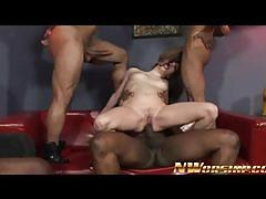 Sweet tatiana kush gets gangbang with black cocks