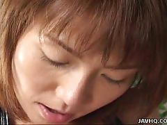 Miri sugihara gives a great blowjob to her man