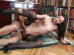 Nataly gold has a rough fuck in the library