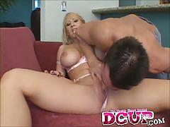 Busty blonde candy manson gets her mouth banged