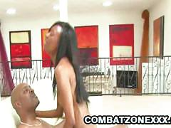 Black teen babe nina foxx gets banged very hard