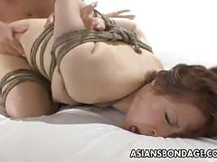 Doggy fucking tied japanese slave
