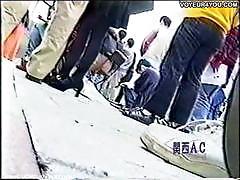 Spy cam filming underskirt