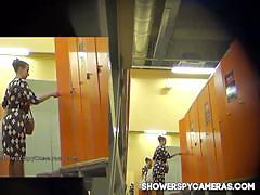 Spy camera in a fitness club locker room