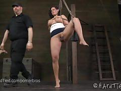 Hot brunette penny barber gets tied in the dungeon
