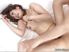Sexy babe nami with trimmed pussy getting fucked.