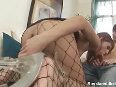 Brunette in fishnets gets her ass blasted hard