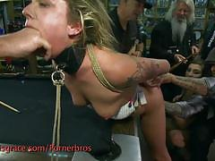 Hot blonde slave gets humiliated and fucked