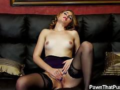 Jonni strips and pawns her wet pussy