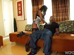 Busty black cougar gets her throat fucked