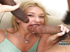 Sexy blonde gets banged by 2 black dudes