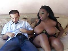 Massive tits ebony babe opens for huge white cock