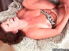 Busty granny alma riding hard and young cock.