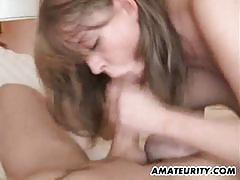 Two busty germans share a guy's cock
