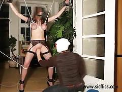 Amateur brunette slut gets tied-up and tortured
