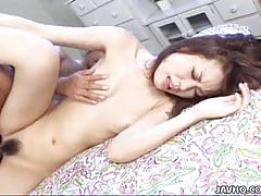 Hairy asian brunette moe aiuchi gets banged hard