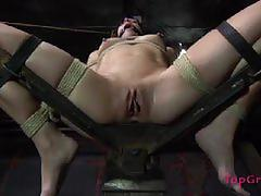 Sister dee bounds her slave and makes her cum hard