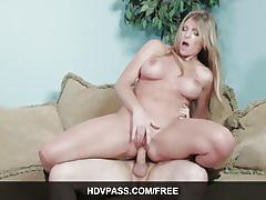 Big titted blonde milf gets fucked on the couch.