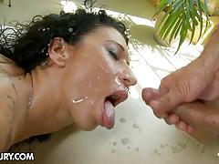 Brunette slut's hard anal sex