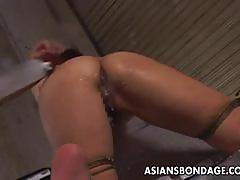 Hot japanese gets tied up and enjoys milk enemas