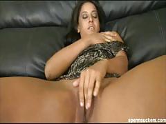 Latin mom kristiana deepthroats cock and eats cum