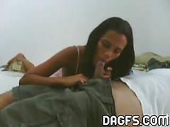 Huge dick fills cock sucking brunette