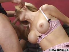 Hot blonde slut sucks and rides two black cocks