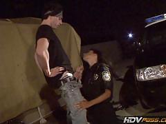 Latina cop sits on fat cock outdoors